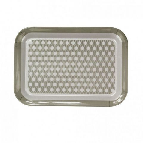 Small Grey Geometric Tea Coffee Biscuit Snack Tray